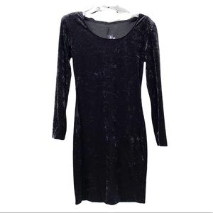 All That Jazz VTG Crushed Velvet Black Bodycon Sheath Dress Fits Like Small